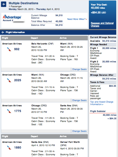 Itinerary from a few months ago when I flew to Brazil for $65 and 40,000 miles.