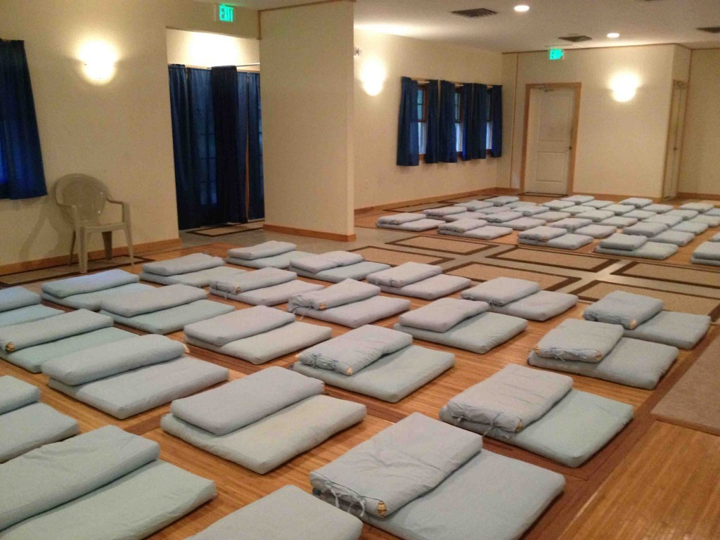 A meditation hall at the Vipassana center. Men and women are separated for the duration of the course.